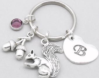Squirrel with acorn heart initial keyring | squirrel keychain | personalised squirrel keyring | squirrel accessory | squirrel gift | letter