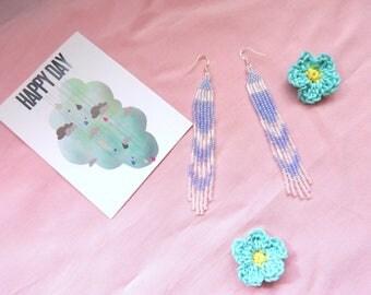 Long blue seed bead earrings, Seed bead earrings, Long blue and white beaded earrings