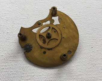Vintage 1930s brass Steampunk pocket watch base plate with gears