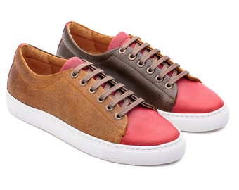 Colored Shoes, Colorful Sneakers, Green Sneakers, Customised Sneakers, Woman Sneakers, Customshoes, Casual Leather Shoes, Red Sneakers