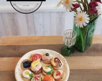 Assorted appetizer / hors d'oeuvres dish (1:12 scale miniature polymer clay food)