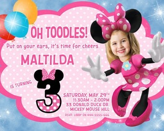 Minnie Mouse Invitation, Your girl as Minnie mouse, MINNIE MOUSE birthday INVITATION, Minnie Mouse Party,Minnie Mouse Invitation with photo