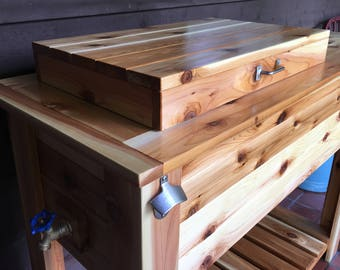 Wood Ice Chest / Grill Cart Combo