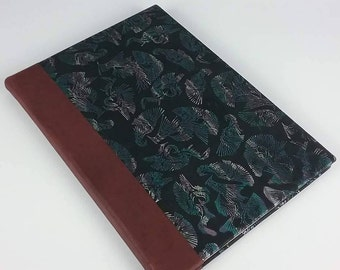 Hand bound A4 book unique OOAK genuine imprinted leather with buckram bindings Australian Made