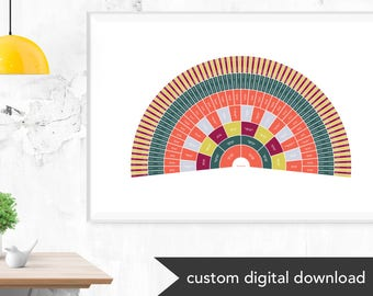 Brightly Colored Custom Genealogy Family Tree Chart (Circle Genealogy Chart or Fan Chart)