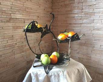 Forged fruit bowl, metal fruit plate, veggie tray, vegetable tray, fruit tray, fruit holder, table centerpiece, eggs basket, picnic, BBQ
