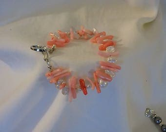Sterling Silver Clasp -Coral and Pearl