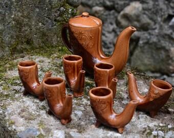 Vintage glazed ceramic set, Vintage pitcher set,Vintage ceramics  jug and cups,Folk art,Handmade and handpainted clay set,Native folk set