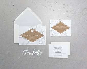 Wedding Invitation, Announcement 5x7 in with envelope A7 - Chic, marble, gray, modern, winter, neutral