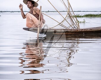 Inle Lake Fisherman at Dawn 8x10 or 16x20 Myanmar (Burma)