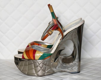 Emilio PUCCI Limited Edition modern DISCO DIVA lady's sandals / size 7