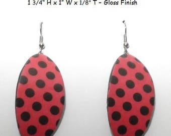 Red with Black Polka Dot Earrings