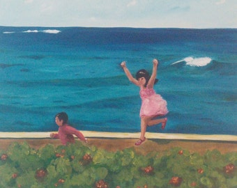 Children Playing by the Sea