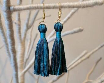 Teal blue tassel earrings multicoloured turquoise silk tassle earrings 7cm 2.5inch handmade in UK-gold silver bronze blue strie silk tassel