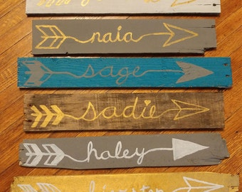 Reclaimed wood personalized hand painted arrows