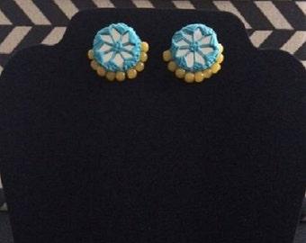 Skyblue yellow beaded earrings - Handmade