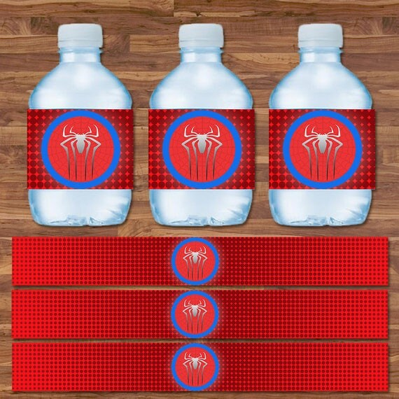 Spiderman Drink Labels - Spiderman Water Bottle Labels - Red & Blue Logo - Spiderman Birthday - Spiderman Party Printables - 9.75 x 1.25 In