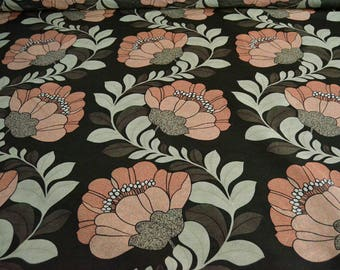 Blush pink, pastel green Floral Cotton by the yard, cotton fabric, half yard cotton, flowers