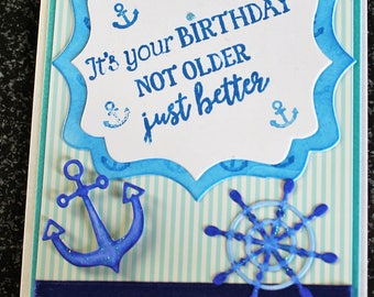 "Blue Birthday card ""Sea"""