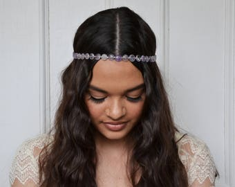boho headpiece, bridal headband, bridal headpiece, boho bridal headpiece, purple headpiece, BELLFLOWER amethyst headband, amethyst headpiece