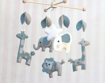 Baby Mobile Safari Friends Mobile Giraffe and Elephant and Lion Nursery Decor