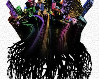 Atlanta Roots Poster - cityscape/skyline design