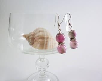 Natural Green Persian jade Stone earrings, Gemstone Round Spacer Loose Beads earrings, Dangle Earring, Natural semi-precious stones earrings