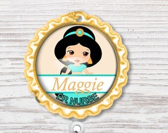 Nurse Badge Reel | Nurse Bottle Cap Badge Reel |Princess Badge Reel | Bottle Cap Retractable Badge Reel | Nurse Badge Reel | CNA Badge
