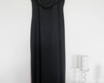 Black Maxi Evening Dress, Long Black Evening Dress, Faux Chiffon Cowl, Chiffon Neckline, Spaghetti Straps, Black Evening Dress, Black Dress,