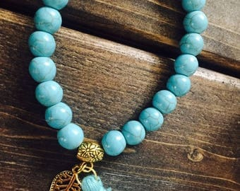 Turquoise Bracelet with gold plated leaf