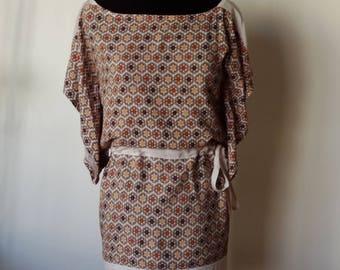 Dress kimono sleeves, beige tones, size S