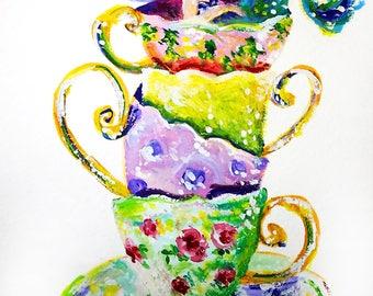Ilustración de sirena sirena - sirena impresión del arte - Arte de la pared de sirena - sirena pintura - arte sirena - vivero sala Decor - taza de té