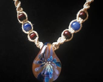 Blue Flower Implosion Glass and Hemp Necklace