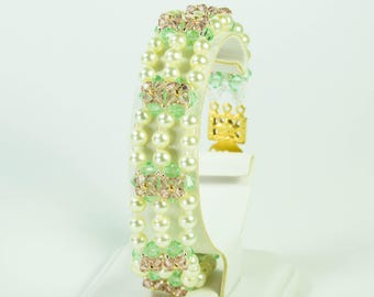 Crystal and Pearl Bead Woven Bracelet, Pink, Green, Swarovski