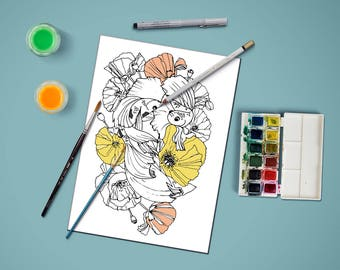 Coloring page for adults, flowers and koi fish coloring page,adult coloring page,coloring page, PDF printable, Instant Download only, Koi