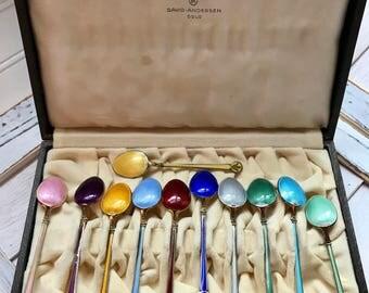 Vintage David Andersen Sterling Enamel Spoon Set of 12 with box