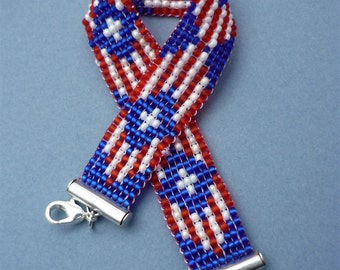 Red, White and Blue glass bead loom bracelet