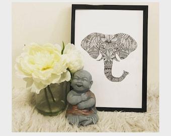 Zentangle Elephant - Print