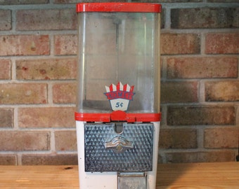 Vintage Gumball Machine-Candy Dispenser-Peanut Dispenser-Vending Machine Dispenser-Gumball Machine-Komet Five Cents-Red And White Candy Disp