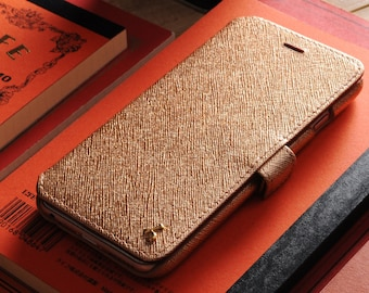 iPhone 6(s) Genuine Leather Book Style Wallet Phone Case - Rose Gold Saffiano Leather