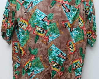 "90's Vintage ""PAZZO"" Short-Sleeve Hawaiian Abstract Patterned Shirt Sz: X-LARGE (Men's Exclusive)"