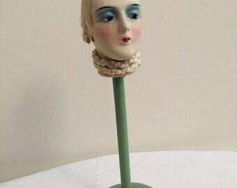 Vintage Boudoir Art Deco Flapper Doll Hat Stand