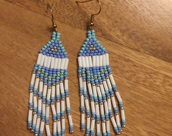 Blue and white beaded earrings