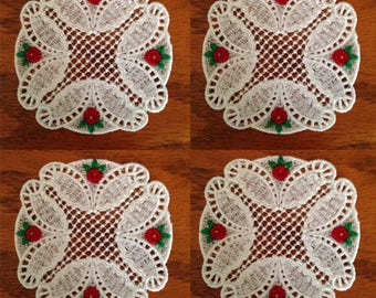 Embroidered Lace Coasters Set Of 4