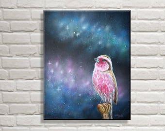 Galaxy bird | Fantasy mural | Acrylic airbrush on canvas 40 x 50 cm