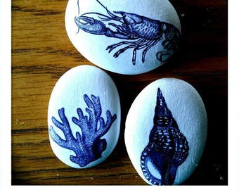 Set of 3 Seaside themed Rock Paper Weights