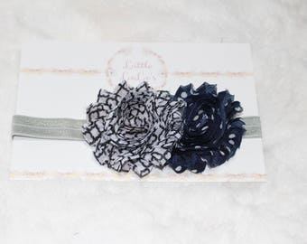 Newborn/Baby/Toddler Navy Blue & White Plaid and Polka Dot Shabby Flower Headband with gray elastic