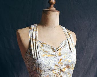 Outstanding early 1930s silk full length chinoiserie print dress