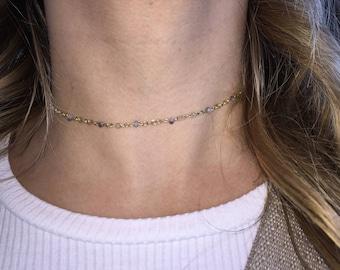 Purple/white beaded gold chain choker