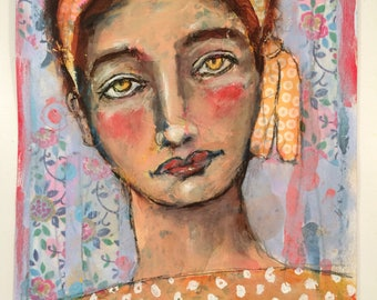 Edna is a mixed media portrait painting